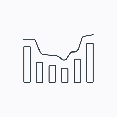 growth chart: Dynamics icon. Statistic chart sign. Growth infochart symbol. Linear outline icon on white background. Vector