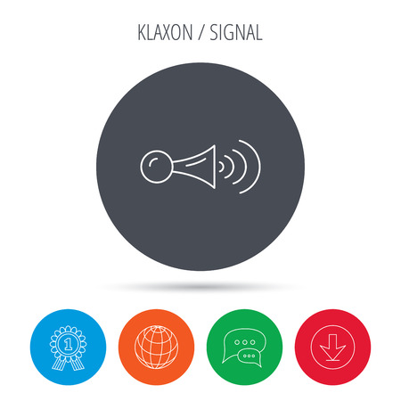squeeze shape: Klaxon signal icon. Car horn sign. Globe, download and speech bubble buttons. Winner award symbol. Vector