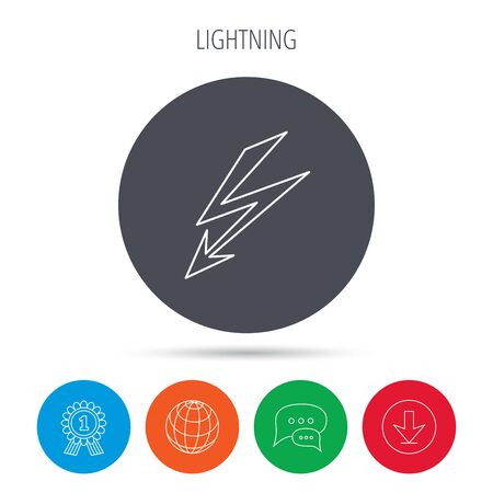 lightening: Lightening bolt icon. Power supply sign. Electricity symbol. Globe, download and speech bubble buttons. Winner award symbol. Vector Vectores