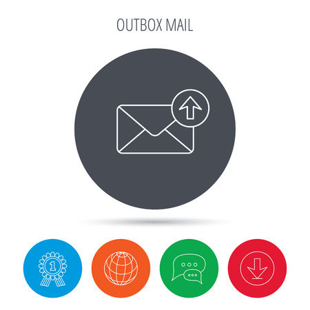 outbox: Mail outbox icon. Email message sign. Upload arrow symbol. Globe, download and speech bubble buttons. Winner award symbol. Vector
