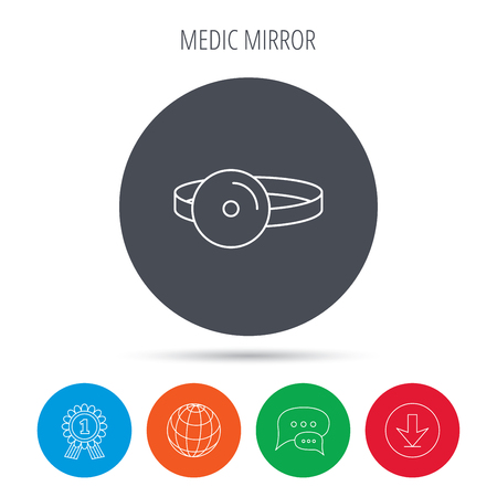 otorhinolaryngology: Medical mirror icon. ORL medicine sign. Otorhinolaryngology diagnosis tool symbol. Globe, download and speech bubble buttons. Winner award symbol. Vector