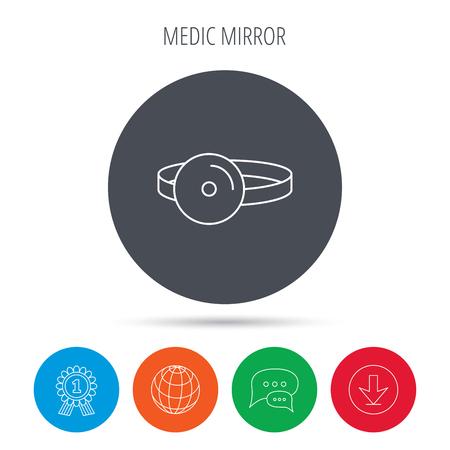 otorhinolaryngology: Medical mirror icon. ORL medicine sign. Otorhinolaryngology diagnosis tool symbol. Globe, download and speech bubble buttons. Winner award symbol. Vector