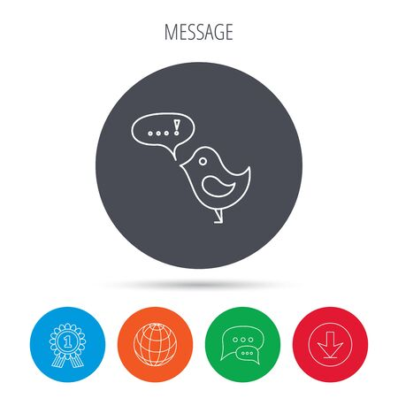twitter: Bird with speech bubble icon. Chat talk sign. Message in twitter concept symbol. Globe, download and speech bubble buttons. Winner award symbol. Vector