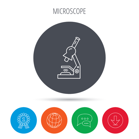 criminology: Microscope icon. Medical laboratory equipment sign. Pathology or scientific symbol. Globe, download and speech bubble buttons. Winner award symbol. Vector