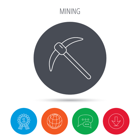 hardwork: Mining tool icon. Pickaxe equipment sign. Minerals industry symbol. Globe, download and speech bubble buttons. Winner award symbol. Vector