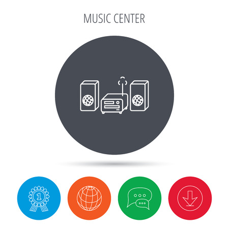 cd recorder: Music center icon. Stereo system sign. Globe, download and speech bubble buttons. Winner award symbol. Vector