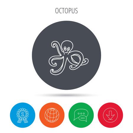devilfish: Octopus icon. Ocean devilfish sign. Globe, download and speech bubble buttons. Winner award symbol. Vector