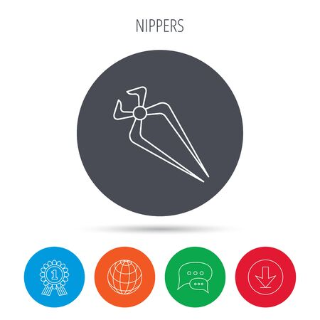 nippers: Nippers icon. Repairing service tool sign. Globe, download and speech bubble buttons. Winner award symbol. Vector Illustration
