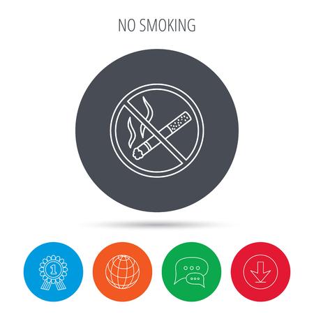 cigar shape: No smoking icon. Stop smoke sign. Globe, download and speech bubble buttons. Winner award symbol. Vector