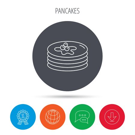 american downloads: Pancakes icon. American breakfast sign. Food with maple syrup symbol. Globe, download and speech bubble buttons. Winner award symbol. Vector