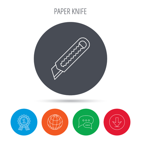 retractable: Paper knife icon. Cutter tool sign. Globe, download and speech bubble buttons. Winner award symbol. Vector