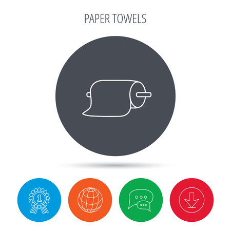 household goods: Paper towels icon. Kitchen hygiene sign. Globe, download and speech bubble buttons. Winner award symbol. Vector