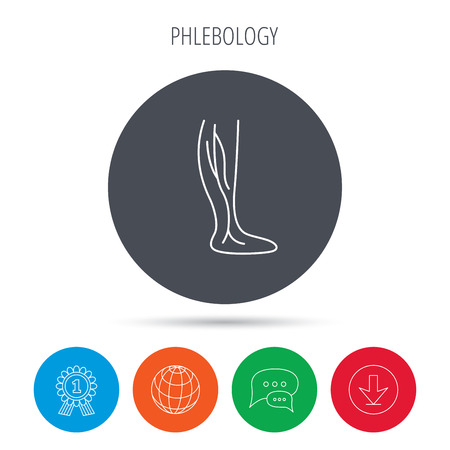 varicose veins: Phlebology icon. Leg veins sign. Varicose or thrombosis symbol. Globe, download and speech bubble buttons. Winner award symbol. Vector