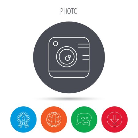 professional equipment: Vintage photo camera icon. Photography sign. Professional equipment and instagram concept symbol. Globe, download and speech bubble buttons. Winner award symbol. Vector