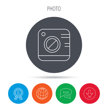 professional equipment: Vintage photo camera icon. Photography sign. Professional equipment symbol. Globe, download and speech bubble buttons. Winner award symbol. Vector