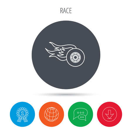 race winner: Wheel on fire icon. Race or Speed sign. Globe, download and speech bubble buttons. Winner award symbol. Vector Illustration