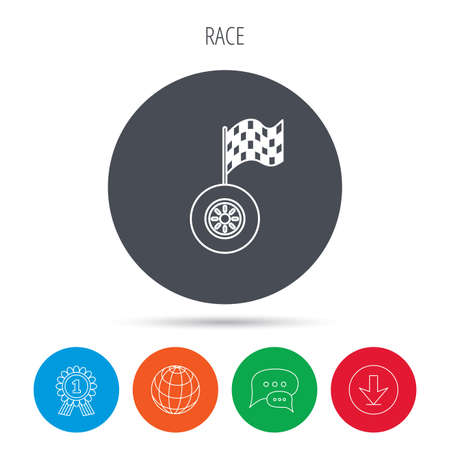 racing sign: Race icon. Wheel with racing flag sign. Globe, download and speech bubble buttons. Winner award symbol. Vector