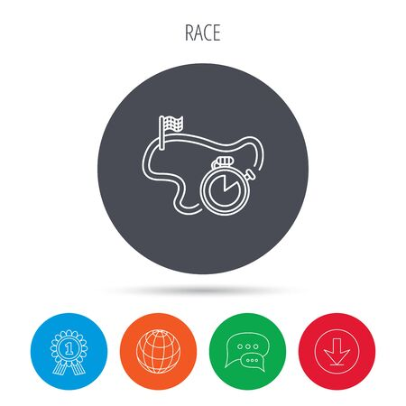 race winner: Race road icon. Finishing flag with timer sign. Globe, download and speech bubble buttons. Winner award symbol. Vector Illustration