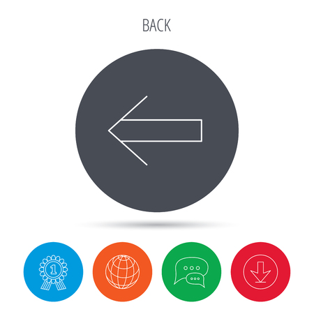 back arrow: Back arrow icon. Previous sign. Left direction symbol. Globe, download and speech bubble buttons. Winner award symbol. Vector
