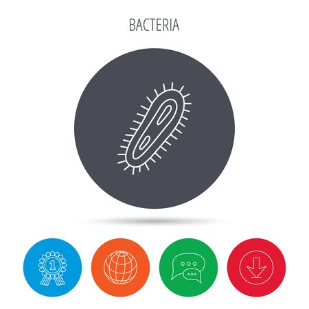 microbio: Icono de bacterias. Medicina s�mbolo infecci�n. Bacteria o signo microbio. Globe, descargar y la burbuja del discurso botones. S�mbolo de premio ganador. Vector Vectores