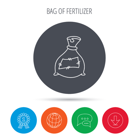 phosphate: Bag with fertilizer icon. Fertilization sack sign. Farming or agriculture symbol. Globe, download and speech bubble buttons. Winner award symbol. Vector