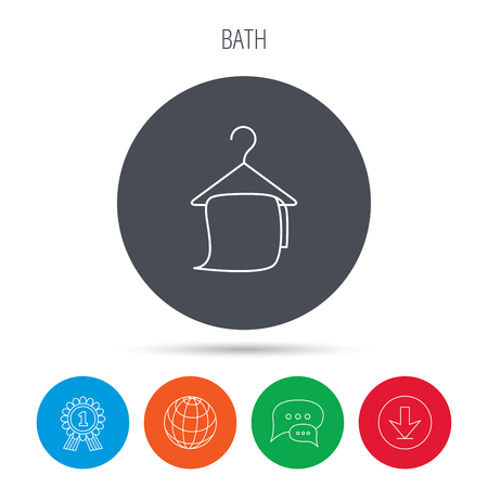 cleaning bathroom: Bath towel icon. Cleaning service sign. Bathroom hanger symbol. Globe, download and speech bubble buttons. Winner award symbol. Vector Illustration