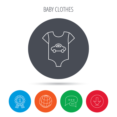 sleeping car: Newborn clothes icon. Baby shirt wear sign. Car symbol. Globe, download and speech bubble buttons. Winner award symbol. Vector