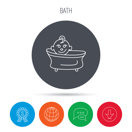 washing symbol: Baby in bath icon. Toddler bathing sign. Newborn washing symbol. Globe, download and speech bubble buttons. Winner award symbol. Vector