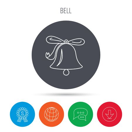 handbell: Ringing jingle bell icon. Sound sign. Alarm handbell symbol. Globe, download and speech bubble buttons. Winner award symbol. Vector