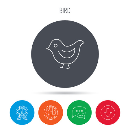 beak: Bird icon. Chick with beak sign. Fowl with wings symbol. Globe, download and speech bubble buttons. Winner award symbol. Vector