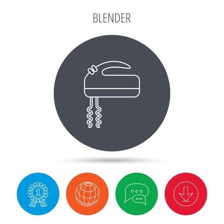 stir: Blender icon. Mixer sign. Globe, download and speech bubble buttons. Winner award symbol. Vector Illustration