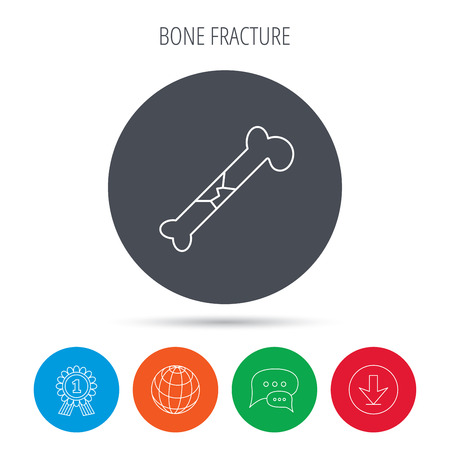 osteo: Bone fracture icon. Traumatology sign. Human bone break. Globe, download and speech bubble buttons. Winner award symbol. Vector