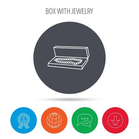 jewelry box: Jewelry box icon. Luxury precious sign. Globe, download and speech bubble buttons. Winner award symbol. Vector