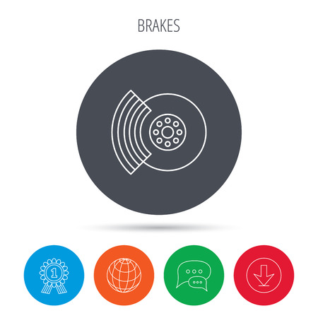 overhaul: Brakes icon. Auto disk repair sign. Globe, download and speech bubble buttons. Winner award symbol. Vector