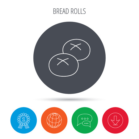 Bread rolls or buns icon. Natural food sign. Bakery symbol. Globe, download and speech bubble buttons. Winner award symbol. Vector Ilustração