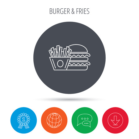 american downloads: Burger and fries icon. Chips, sandwich sign. Hamburger fast food symbol. Globe, download and speech bubble buttons. Winner award symbol. Vector