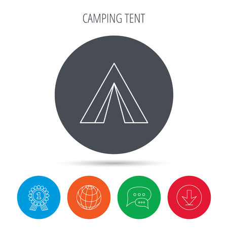 hike: Tourist tent icon. Camping travel hike sign. Globe, download and speech bubble buttons. Winner award symbol. Vector