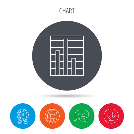 demand: Chart icon. Graph diagram sign. Demand reduction symbol. Globe, download and speech bubble buttons. Winner award symbol. Vector