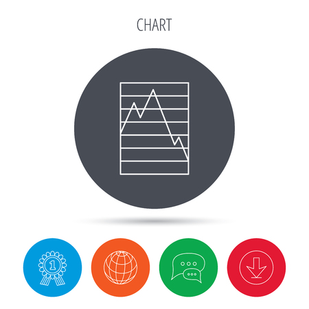 demand: Chart curve icon. Graph diagram sign. Demand reduction symbol. Globe, download and speech bubble buttons. Winner award symbol. Vector Illustration