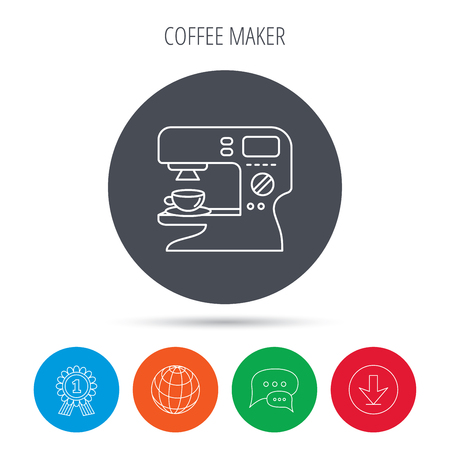 sign maker: Coffee maker icon. Hot drink machine sign. Globe, download and speech bubble buttons. Winner award symbol. Vector Illustration