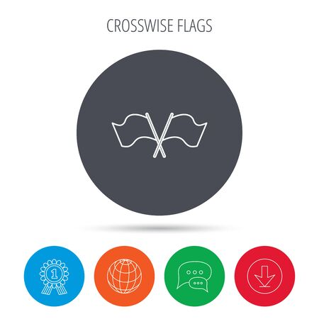 crosswise: Crosswise waving flag icon. Location pointer sign. Globe, download and speech bubble buttons. Winner award symbol. Vector