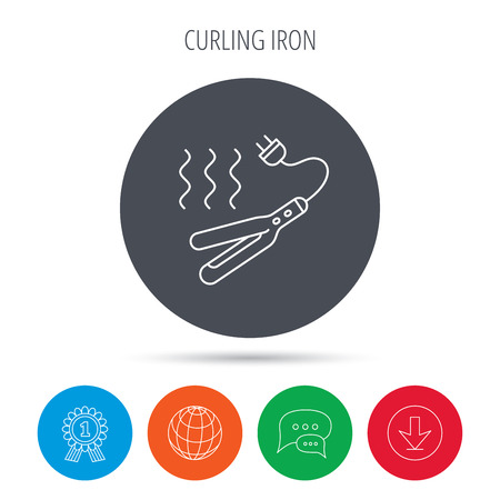 Curling iron icon. Hairstyle electric tool sign. Globe, download and speech bubble buttons. Winner award symbol. Vector Illustration