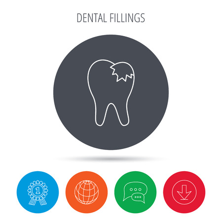 restoration: Dental fillings icon. Tooth restoration sign. Globe, download and speech bubble buttons. Winner award symbol. Vector
