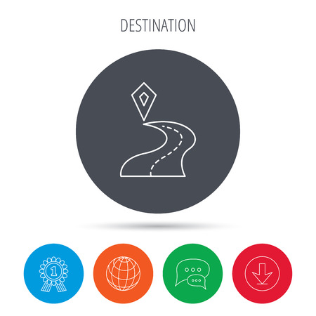 Destination pointer icon. Road location sign. Globe, download and speech bubble buttons. Winner award symbol. Vector Illustration