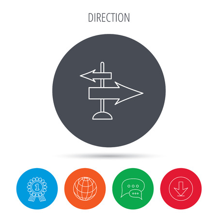 guia de viaje: Direction arrows icon. Destination way sign. Travel guide symbol. Globe, download and speech bubble buttons. Winner award symbol. Vector