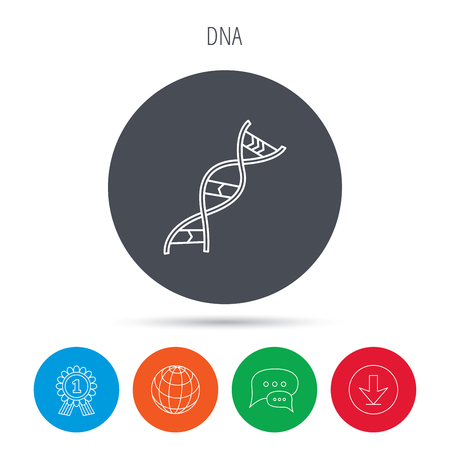 adenine: DNA icon. Genetic evolution structure sign. Biology science symbol. Globe, download and speech bubble buttons. Winner award symbol. Vector
