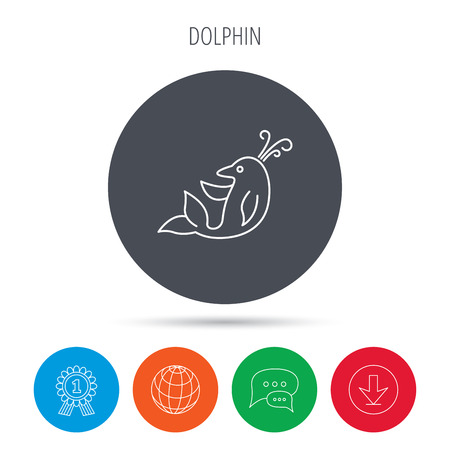 cetacean: Dolphin icon. Cetacean mammal sign. Delphinidae with fountain symbol. Globe, download and speech bubble buttons. Winner award symbol. Vector