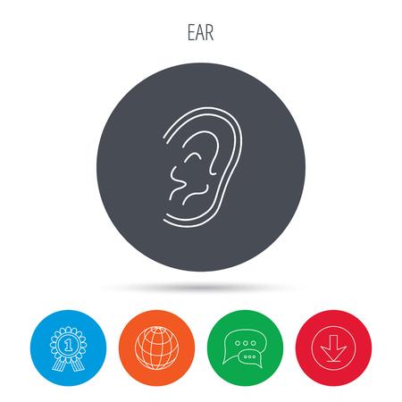 otorhinolaryngology: Ear icon. Hear or listen sign. Deaf human symbol. Globe, download and speech bubble buttons. Winner award symbol. Vector Vettoriali