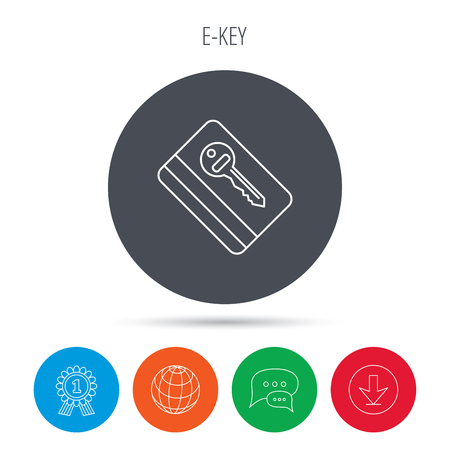 room card: Electronic key icon. Hotel room card sign. Unlock chip symbol. Globe, download and speech bubble buttons. Winner award symbol. Vector Illustration