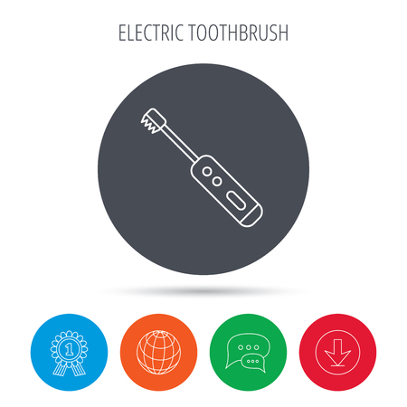 tooth cleaning: Electric toothbrush icon. Tooth cleaning sign. Globe, download and speech bubble buttons. Winner award symbol. Vector